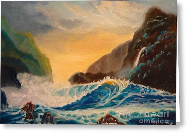 Hawaiian Turquoise Sunset   Copyright Greeting Card