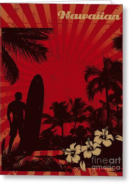 Hawaiian Vintage Surf Poster Greeting Card