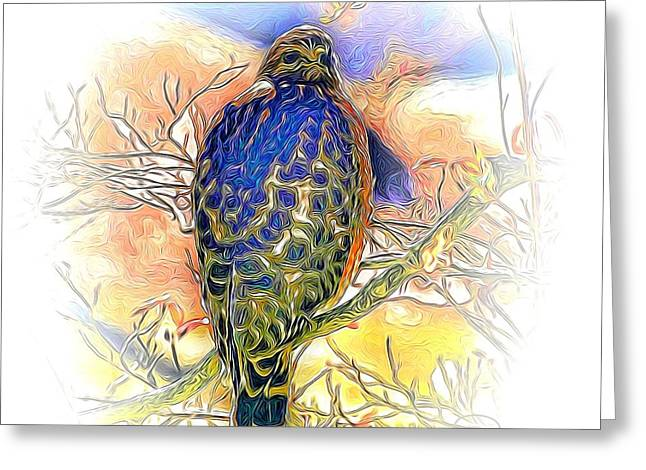 Hawk 2 Greeting Card by Ludwig Keck