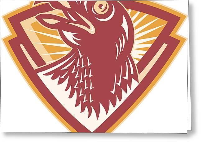 Hawk Head Shield Retro Greeting Card by Aloysius Patrimonio