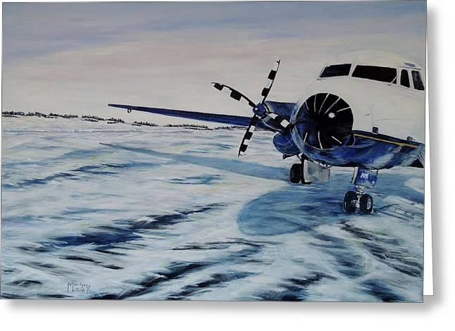 Greeting Card featuring the painting Hawker - Airplane On Ice by Marilyn  McNish