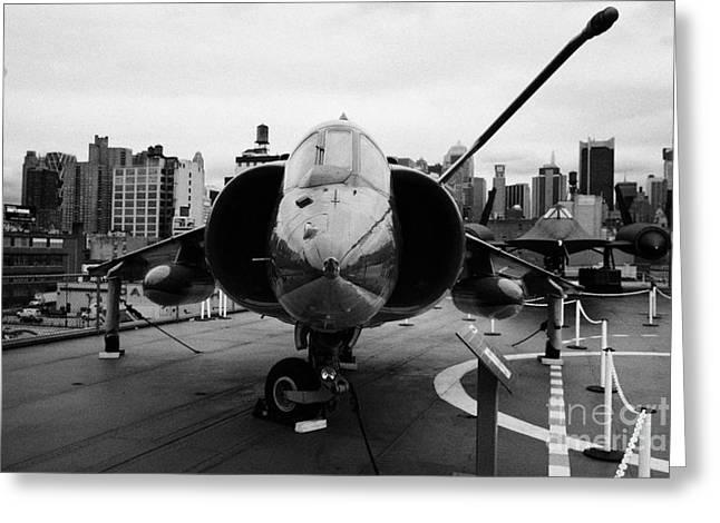 Hawker Siddeley Av8 Av 8c Harrier On Display On The Flight Deck At The Intrepid Sea Air Space Museum Greeting Card by Joe Fox