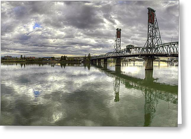 Hawthorne Bridge Over Willamette River Greeting Card