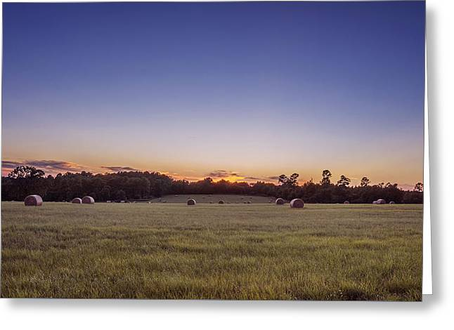 Hay Bales In A Field At Sunset Greeting Card