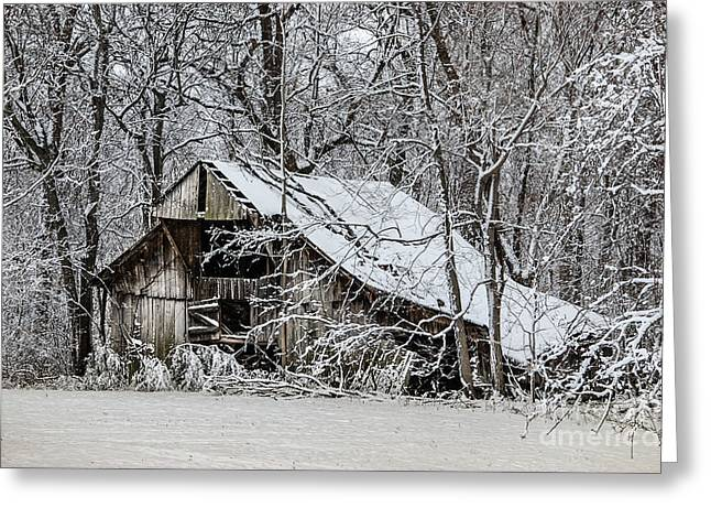 Greeting Card featuring the photograph Hay Barn In Snow by Debbie Green