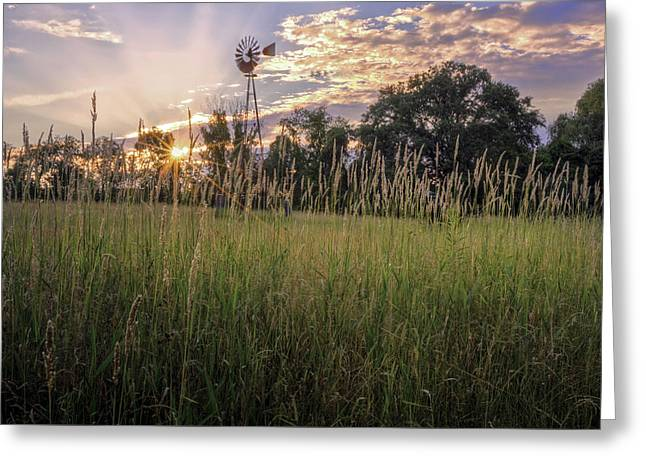 Hay Field Sunset Greeting Card by Bill Wakeley