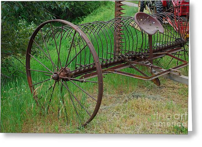 Greeting Card featuring the photograph Hay Rake by Ron Roberts