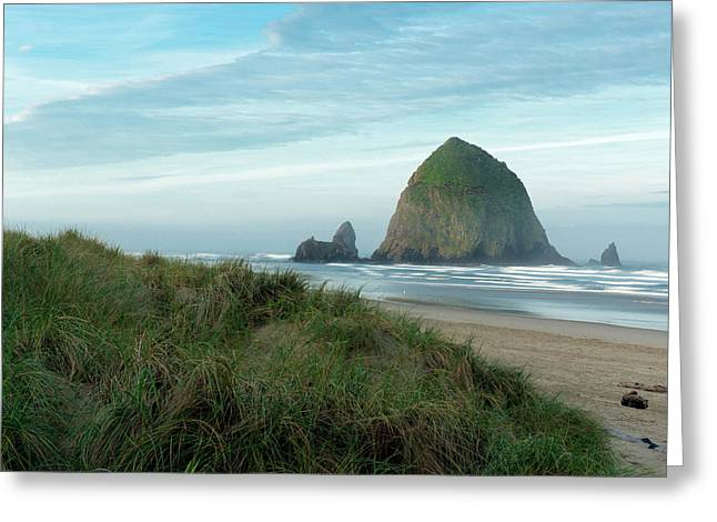 Hay Stack Rock On The Sandy Beach Greeting Card