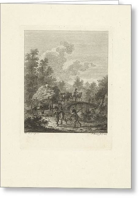 Hay Wagon Which Drives Over A Bridge, Joannes Bemme Greeting Card by Joannes Bemme