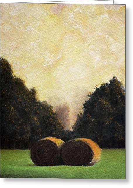 Hay Wheels - Pastel Greeting Card by Ben Kotyuk