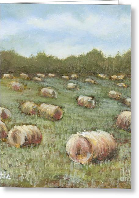 Haybales In The Field Greeting Card by Vic  Mastis