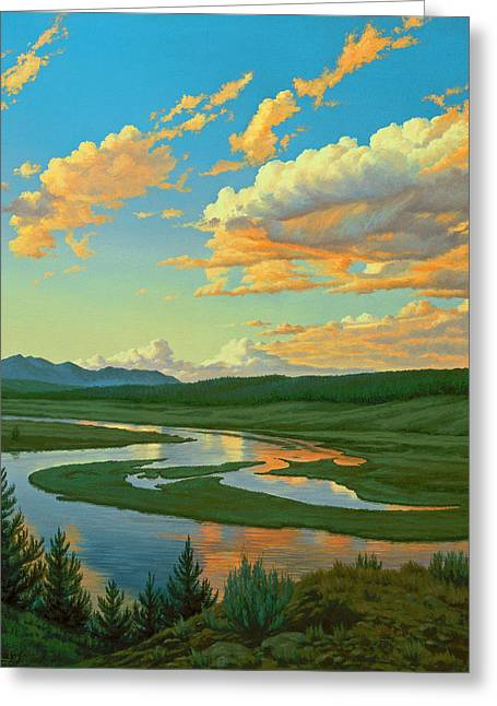 Hayden Valley Sunset Greeting Card