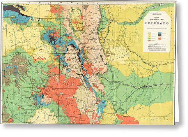 Hayden's General Geological Map Of Colorado - 1881 Greeting Card by Eric Glaser