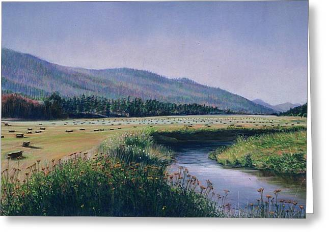 Hayfield And River Greeting Card