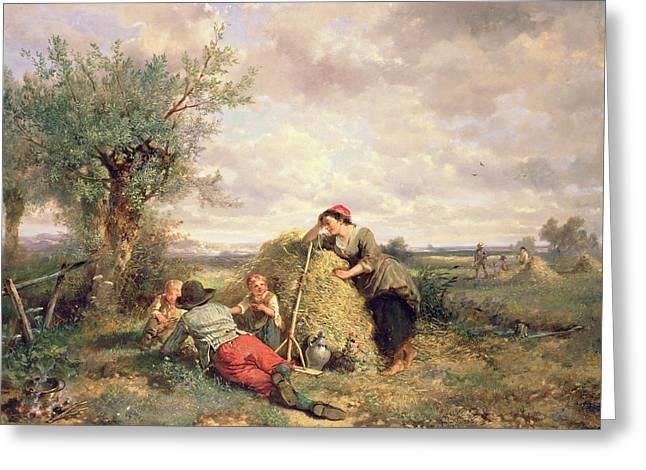 Haymaking Greeting Card by Jan Mari Henri Ten Kate
