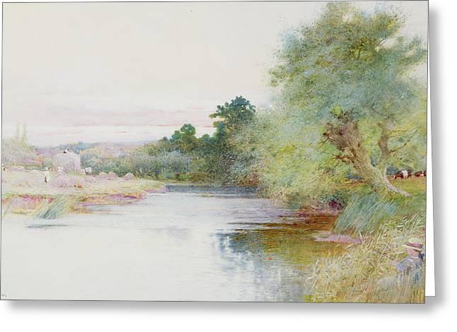 Haymaking Near Marlow Greeting Card by Arthur Claude Strachan