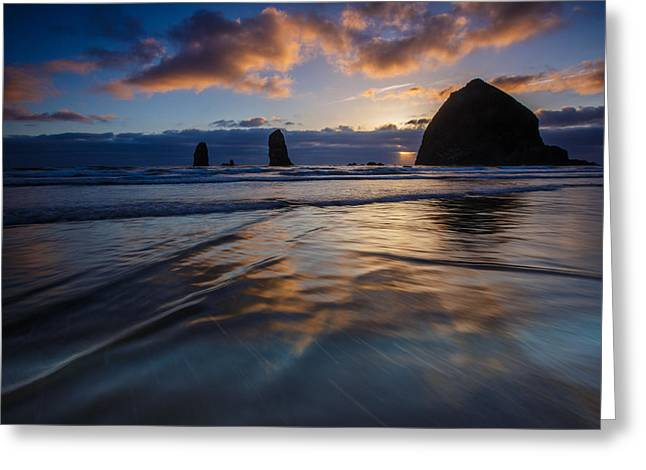 Haystack Rock And The Needles Greeting Card by Rick Berk