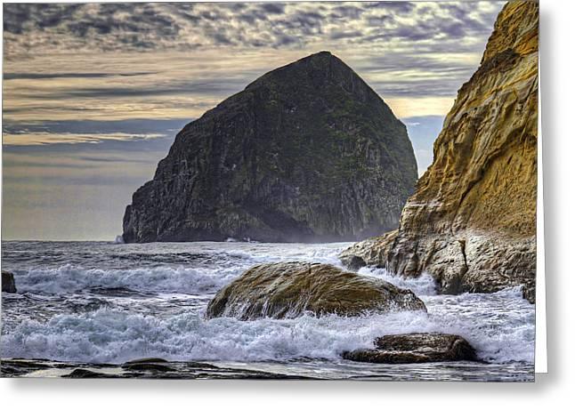 Haystack Rock At Cape Kiwanda Greeting Card by David Gn