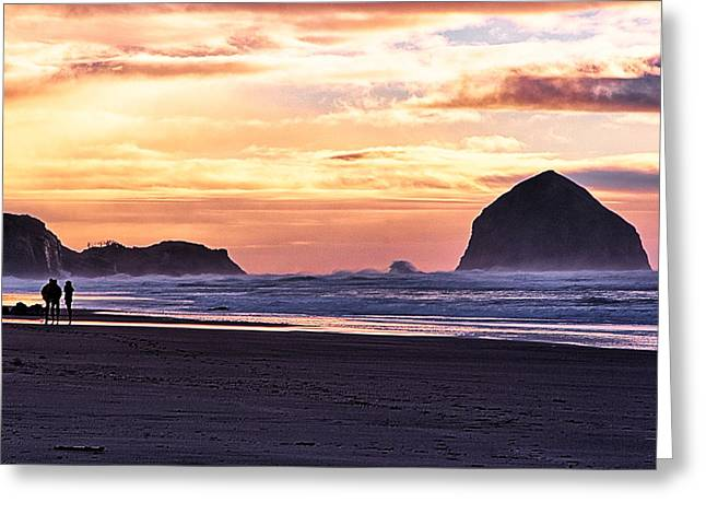 Haystack Rock Beach Walk Sunset Greeting Card