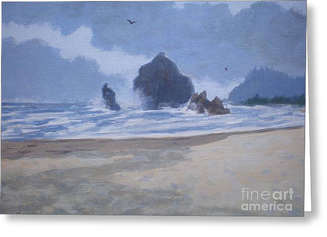 Haystack Rock Drama Greeting Card