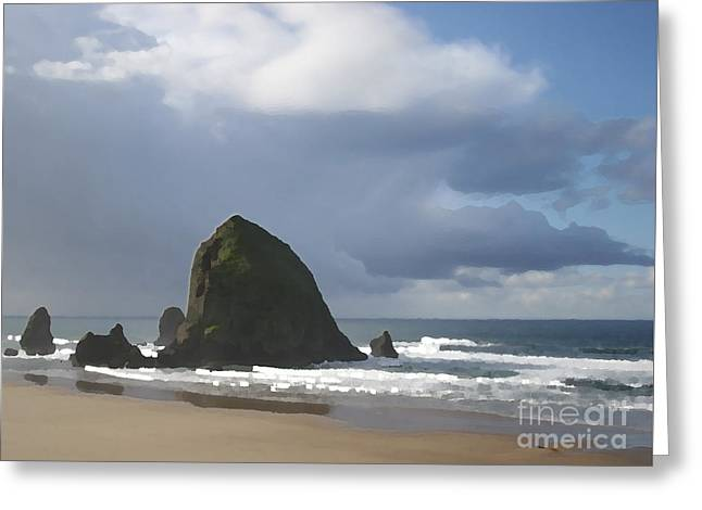 Greeting Card featuring the photograph Haystack Rock by Jeanette French