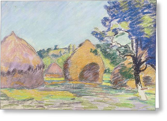 Haystacks At Saint Cheron Greeting Card by Jean Baptiste Armand Guillaumin