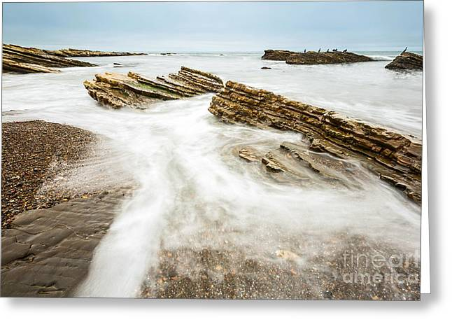 Hazard Tides - Jagged Rocks Of Montana De Oro State Park Greeting Card by Jamie Pham