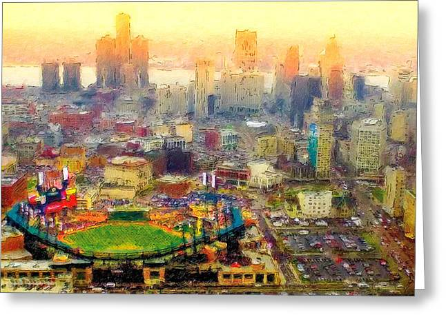Haze Over Comerica Greeting Card by John Farr