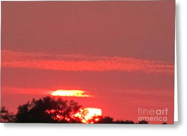 Greeting Card featuring the photograph Hazy Sunset by Tina M Wenger
