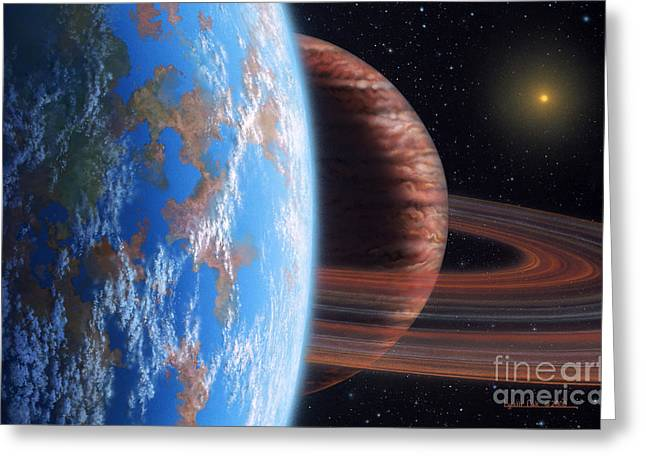 Hd 177830 B And Moon Greeting Card by Lynette Cook