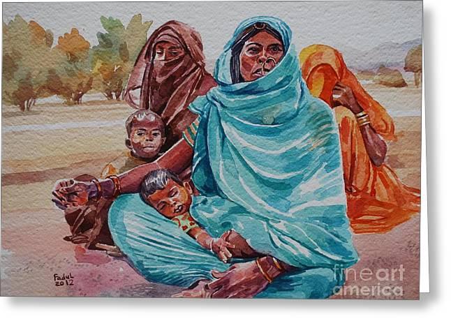Hdndoh Eastern Sudan Greeting Card by Mohamed Fadul
