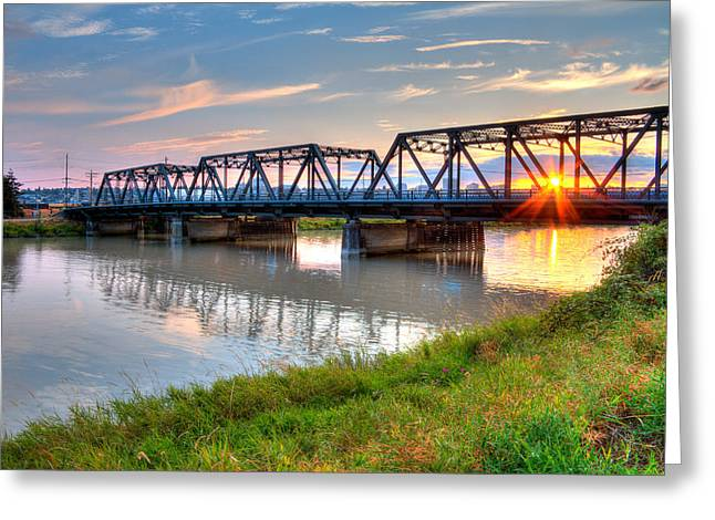 Hdr - Sunset On Lincoln Ave. Bridge  Greeting Card