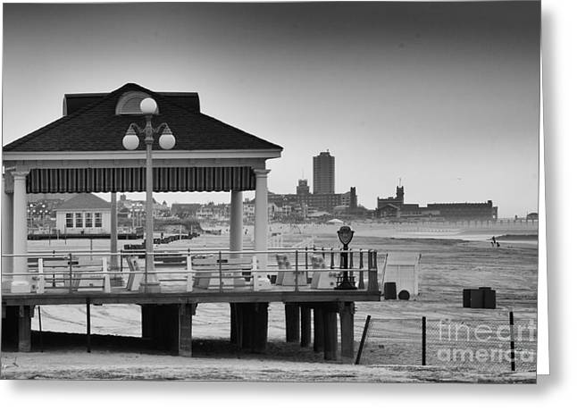 Hdr Beach Boardwalk Photos Pictures Art Sea Ocean Photograph Scenic Landscape Black White Greeting Card by Pictures HDR