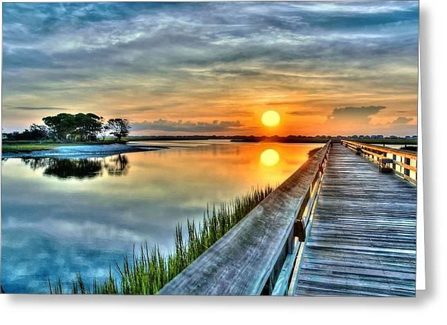 Hdr Boardwalk Sunrise Greeting Card by Ed Roberts