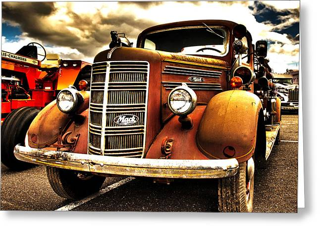 Hdr Fire Truck Greeting Card
