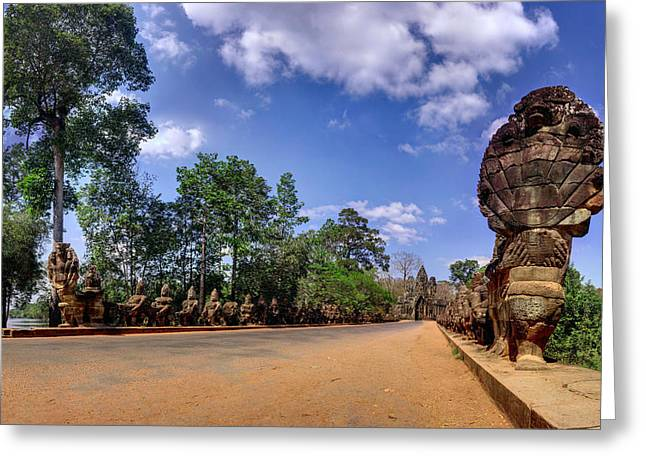 Greeting Card featuring the photograph Hdr - Hi-res - Ancient Asia Civilization Monuments In Angkor Wat Cambodia by Afrison Ma