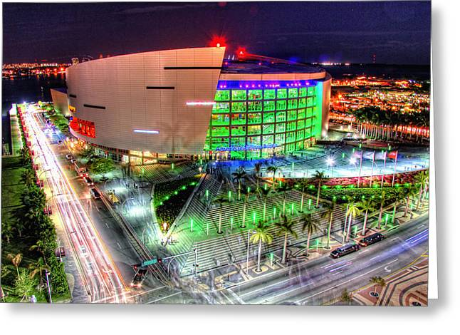 Hdr Of American Airlines Arena Greeting Card by Joe Myeress