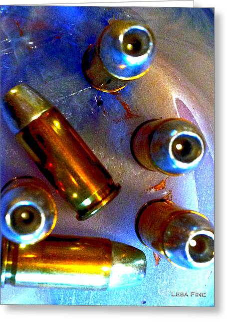 Bullet Art - Hdr Photography Of .32 Caliber Hollow Point Bullets Art 4 Greeting Card by Lesa Fine