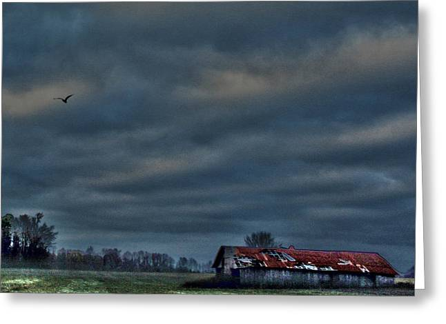 Hdr Print Red Tattered Barn Greeting Card by Lesa Fine