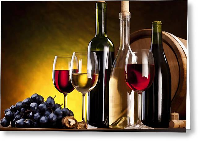 Hdr Style Wine Glasses Bottle Cask And Grapes Greeting Card by Elaine Plesser