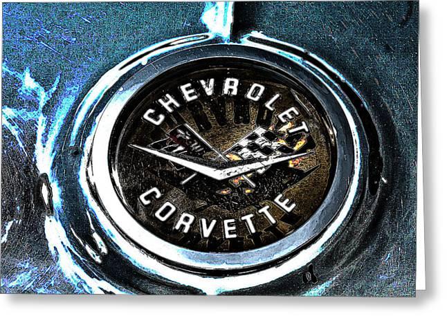 Greeting Card featuring the photograph Hdr Vintage Corvette Emblem Art by Lesa Fine