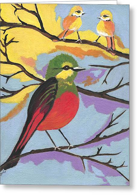 Greeting Card featuring the painting He Aint That Tweet by Kathleen Sartoris