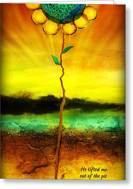 Greeting Card featuring the mixed media He Lifts Me Out by Shevon Johnson