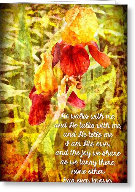 He Walks With Me Greeting Card by Michelle Greene Wheeler