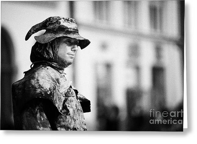 Head And Shoulders Of Man Dressed As A Gold Statue Street Entertainer In Rynek Glowny Town Square Krakow Greeting Card