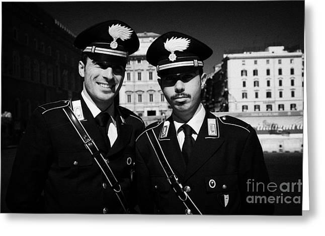 head and shoulders of Two Arma Dei Carabinieri Italian police officers on duty in Piazza Venezia Rom Greeting Card
