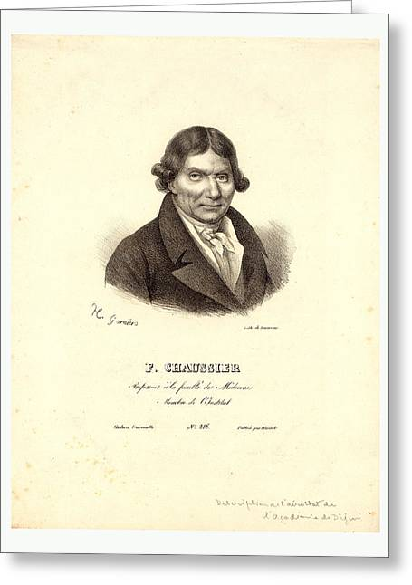 Head-and-shoulders Profile Portrait Of French Balloonist J Greeting Card