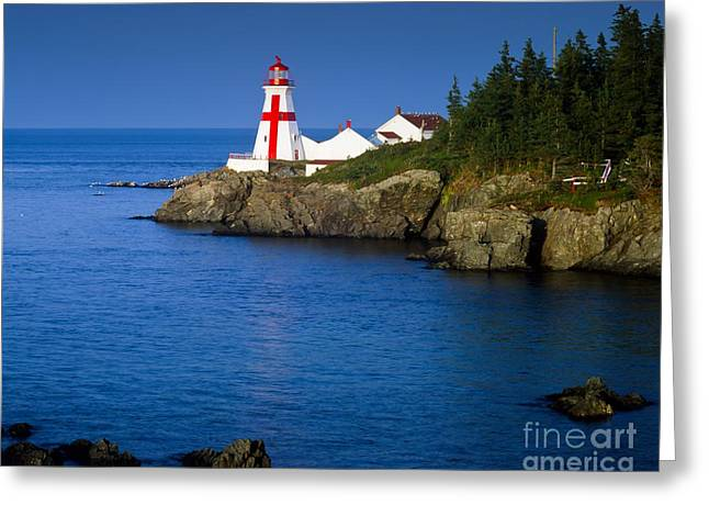 Head Harbour Lighthouse At Sunset Greeting Card by Larry Knupp