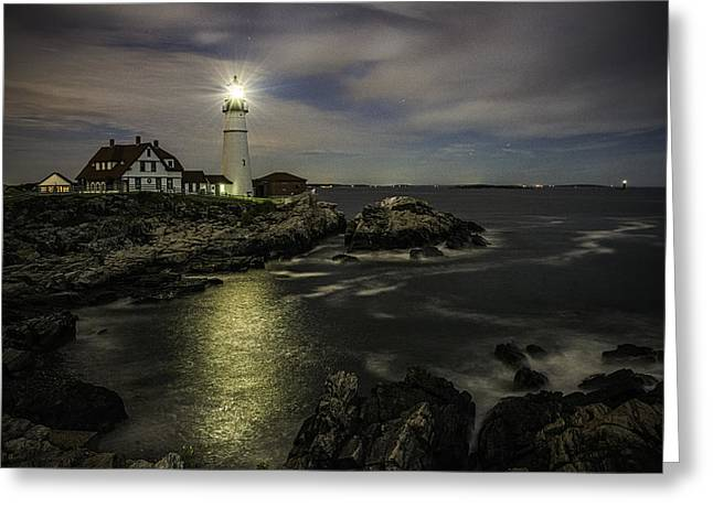 Head Light By Night Greeting Card
