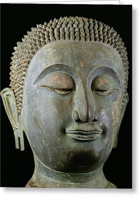 Head Of A Giant Buddha  Greeting Card by Thai School